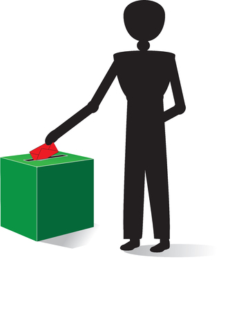 balloting: man voting with red enveloppe Illustration