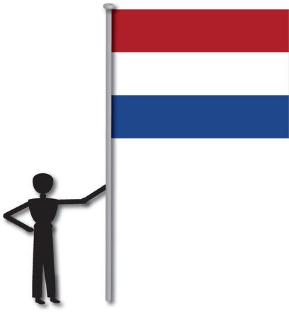 флагшток: Человек с флагом из страны Голландии
