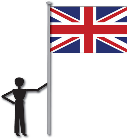 flagpole: man with flag from country england