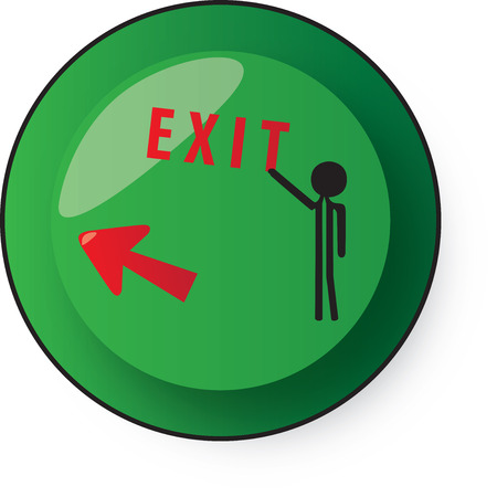 secluded: green button with exit sign