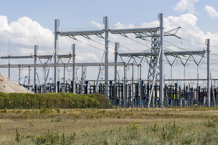 isolator high voltage: electricity power station with cables and isolators high voltage Stock Photo