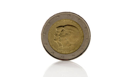 beatrix: two euro coin from holland with king willem alexander and prinses beatrix Stock Photo