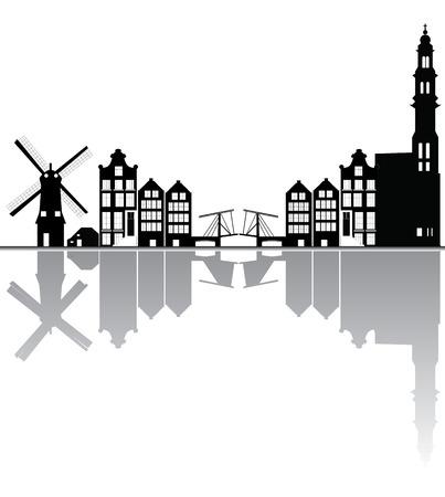 アムステルダムのスカイライン  イラスト・ベクター素材