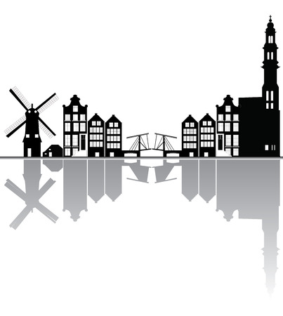 amsterdam skyline Illustration