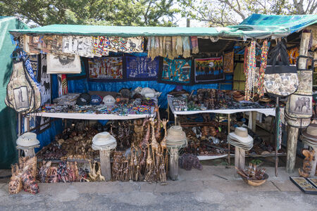 TZANEEN; SOUTH AFRICA- MAR 15; 2014: market stall with hand and other products for tourists on the panarama route.This route is most popular route in south africa