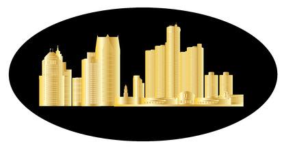 midwest: detroit golden skyline