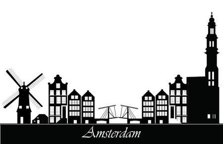 amsterdam skyline Illustration