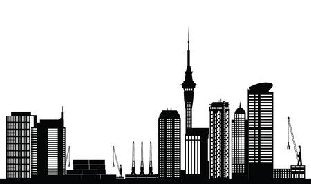 オークランド ニュージーランド都市スカイライン  イラスト・ベクター素材