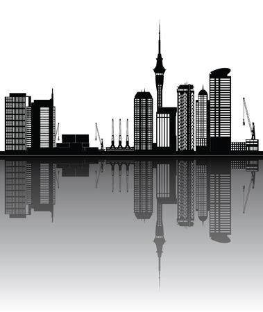 new zealand landscape: auckland new zealand city skyline