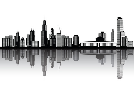 hancock building: chicago skyline Illustration