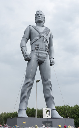 BEST, NETHERLANDS - MAY 26 2014: Michael Jackson statue in Best, Netherlands on May 26, 2014. This statue was depicted in his 1995 album HIStory and later on purchased by local entrepreneurs from Best.