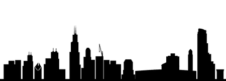 chicago skyline zwart Stock Illustratie