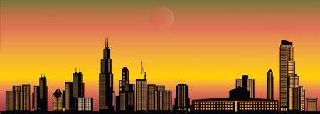 sears: chicago city skyline sunset Illustration