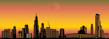 chicago city skyline sunset Illustration