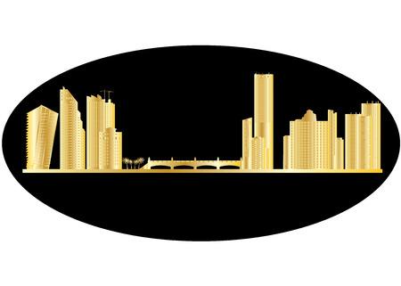 miami golden skyline Vector