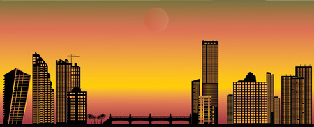 miami: miami skyline by dusk Illustration