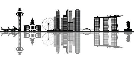 シンガポールのスカイライン  イラスト・ベクター素材