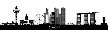 싱가포르의 스카이 라인 일러스트