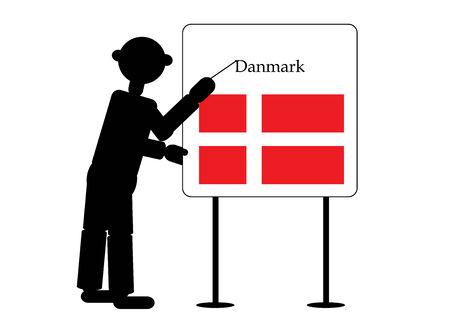 danmark: man show flag of danmark