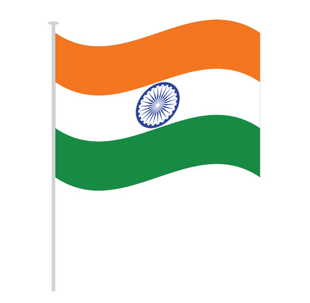 flag pole: india flag isolated on white orange green