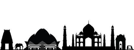 인도 뉴 델리의 스카이 라인 일러스트