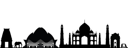 india new delhi skyline Illustration