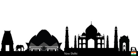 monument in india: india new delhi skyline Illustration