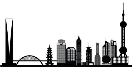 上海のスカイライン  イラスト・ベクター素材