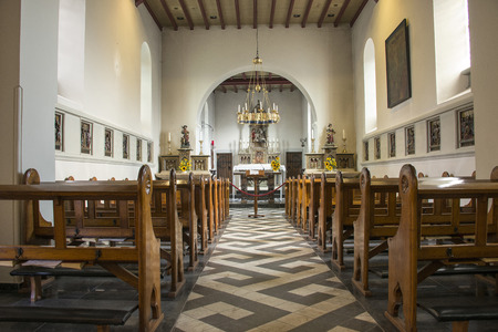 pews: pews and inside church in holset village in holland