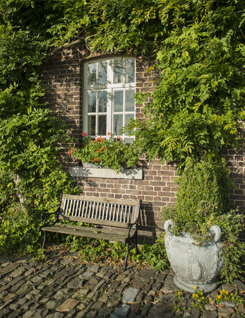 old farm with green plants on the wall and seat on the old rocks in the garden photo