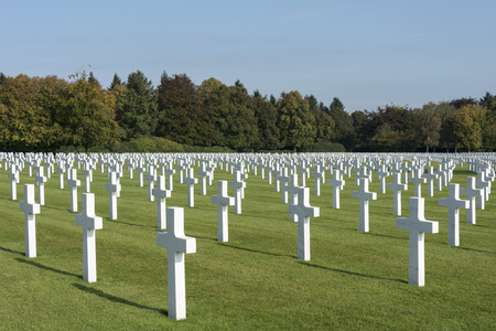 cemetry: 7700 white crosses of american soldiers on the military american cemetry henri chapelle in belgium city hombourg
