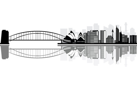australia landscape: sydney skyline Illustration