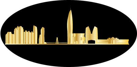 seoul: seoul city skyline Illustration