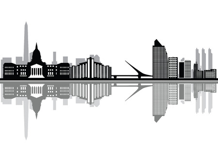 buenos aires: buenos aires city skyline Illustration