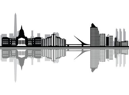 buenos aires city skyline Illustration