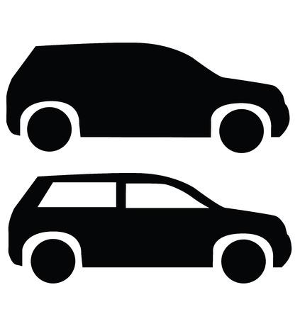 suv: black suv car icon isolated on white Illustration