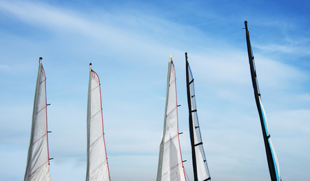 watersport: set of different sails for watersport on the beach