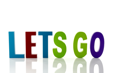 lets: text letters lets go in red blue green and pink Stock Photo