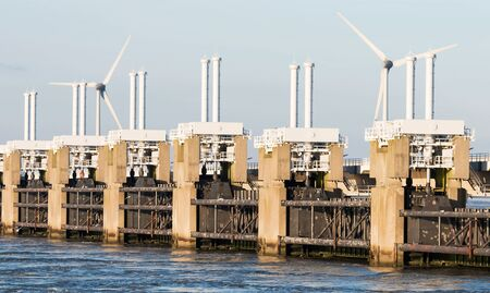 watermanagement: a deltaworks in holland at the Oosterschelde river to protect holland form high sea level, this is near the dutch museum neeltje jans