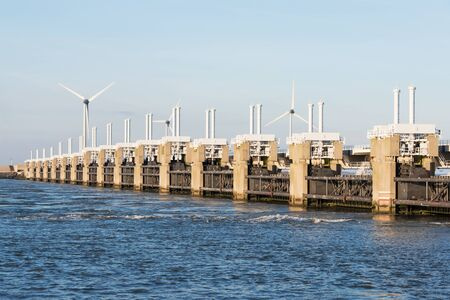 a deltaworks in holland at the Oosterschelde river to protect holland form high sea level Stock Photo