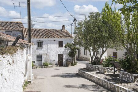 portugese: Ameixial typical white houses in portugese village in the north of the algarve