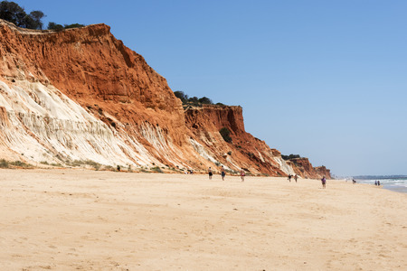 praia: Cliffs at Praia da Falesia near villamoura in portugal area algarve with people walking at the beach
