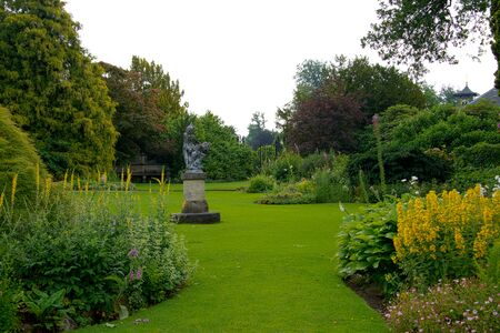 english garden: big english garden with borders and flowers