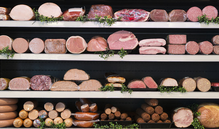 different types of meat in a butcher shop