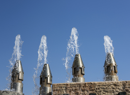 water from fountain in the centre of the portuguese capital lisbon Stock Photo