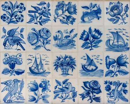 dutch typical: Ceramic azulejo tiles outside the old building in Lisbon, Portugal.