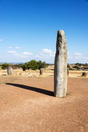 grandeur: Portugals largest menhirs, the Xarez stone-circle is second only in grandeur to Almendres, near Evora Stock Photo