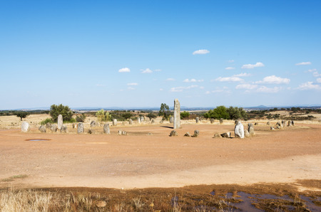 near: Portugals largest menhirs, the Xarez stone-circle is second only in grandeur to Almendres, near Evora Stock Photo