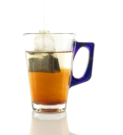 teabag: transparant glass with teabag in water