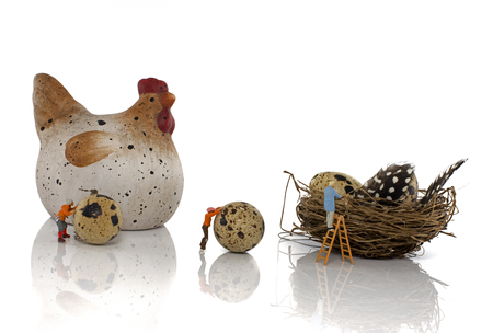 wooden toy: little world minature puppets easter eggs production